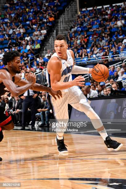 Aaron Gordon of the Orlando Magic handles the ball during the game against the Miami Heat on October 18 2017 at Amway Center in Orlando Florida NOTE...
