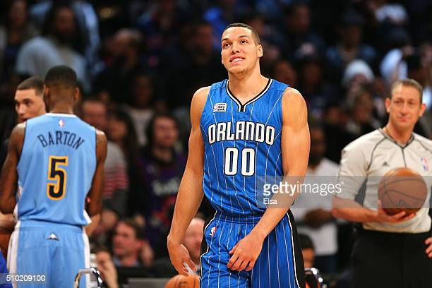 Aaron Gordon of the Orlando Magic looks on after a dunk in the Verizon Slam Dunk Contest during NBA AllStar Weekend 2016 at Air Canada Centre on...