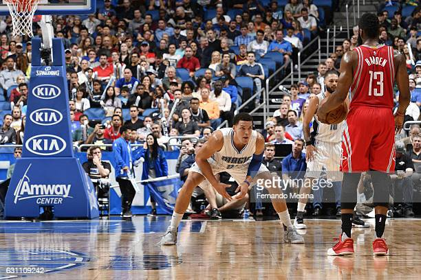Aaron Gordon of the Orlando Magic plays defense against James Harden of the Houston Rockets on January 6 2017 at the Amway Center in Orlando Florida...