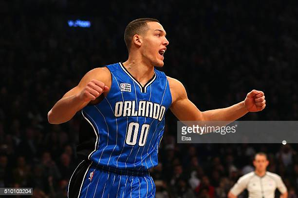 Aaron Gordon of the Orlando Magic reacts after a dunk in the Verizon Slam Dunk Contest during NBA AllStar Weekend 2016 at Air Canada Centre on...