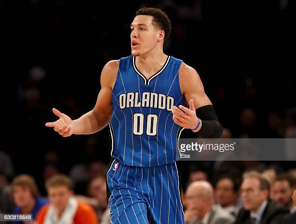 Aaron Gordon of the Orlando Magic reacts in the second half against the New York Knicks at Madison Square Garden on January 2 2017 in New York City...