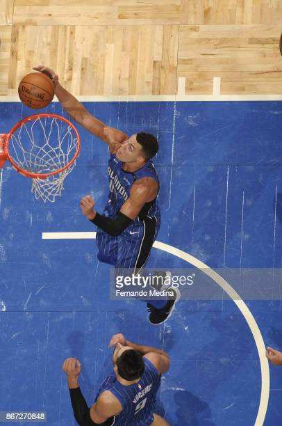 Aaron Gordon of the Orlando Magic shoots the ball against the San Antonio Spurs on October 27 2017 at Amway Center in Orlando Florida NOTE TO USER...