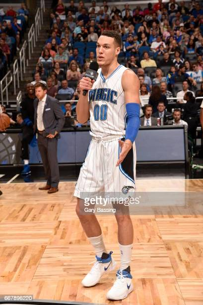 Aaron Gordon of the Orlando Magic speaks to the crowd at the last game of the season against the Detroit Pistons on April 12 2017 at the Amway Center...