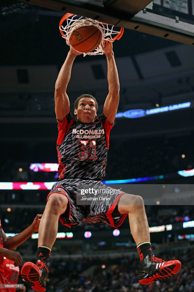 Aaron Gordon #32 of the West dunks the ball against the East during the 2013 McDonald's All American game at United Center on April 3, 2013 in Chicago, Illinois.