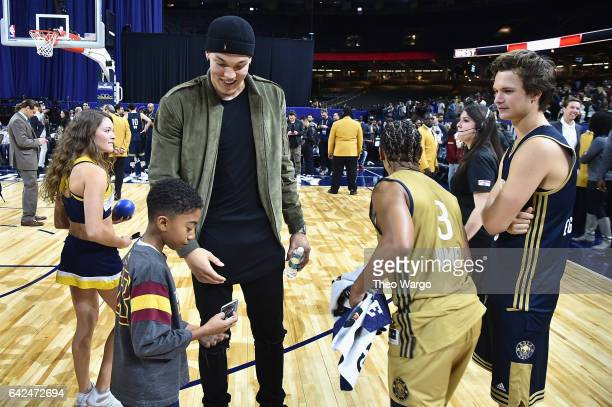 Aaron Gordon Romeo Miller and Ansel Elgort attend the 2017 NBA AllStar Celebrity Game at MercedesBenz Superdome on February 17 2017 in New Orleans...