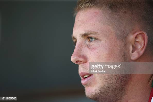 Aaron Gray is interviewed during a South Sydney Rabbitohs NRL media session at Redfern Oval on February 22 2016 in Sydney Australia