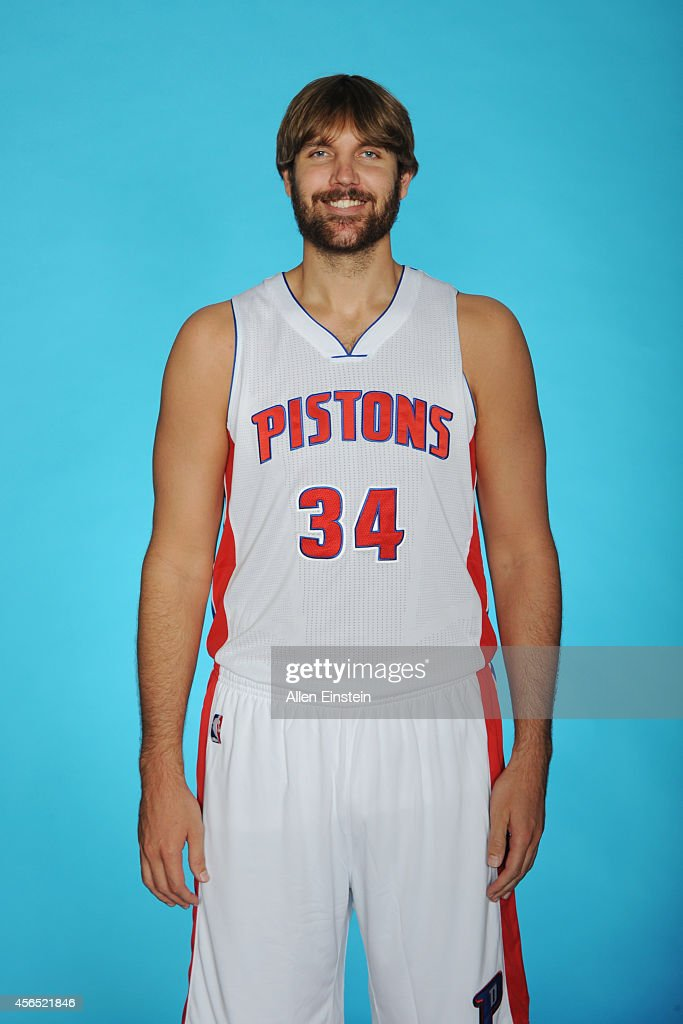 Aaron Gray of the Detroit Pistons poses during Detroit Pistons Media Day on September 29 2014 in Auburn Hills Michigan NOTE TO USER User expressly...
