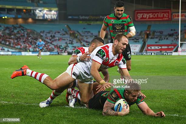 Aaron Gray of the Rabbitohs scores a try during the round nine NRL match between the South Sydney Rabbitohs and the St George Illawarra Dragons at...
