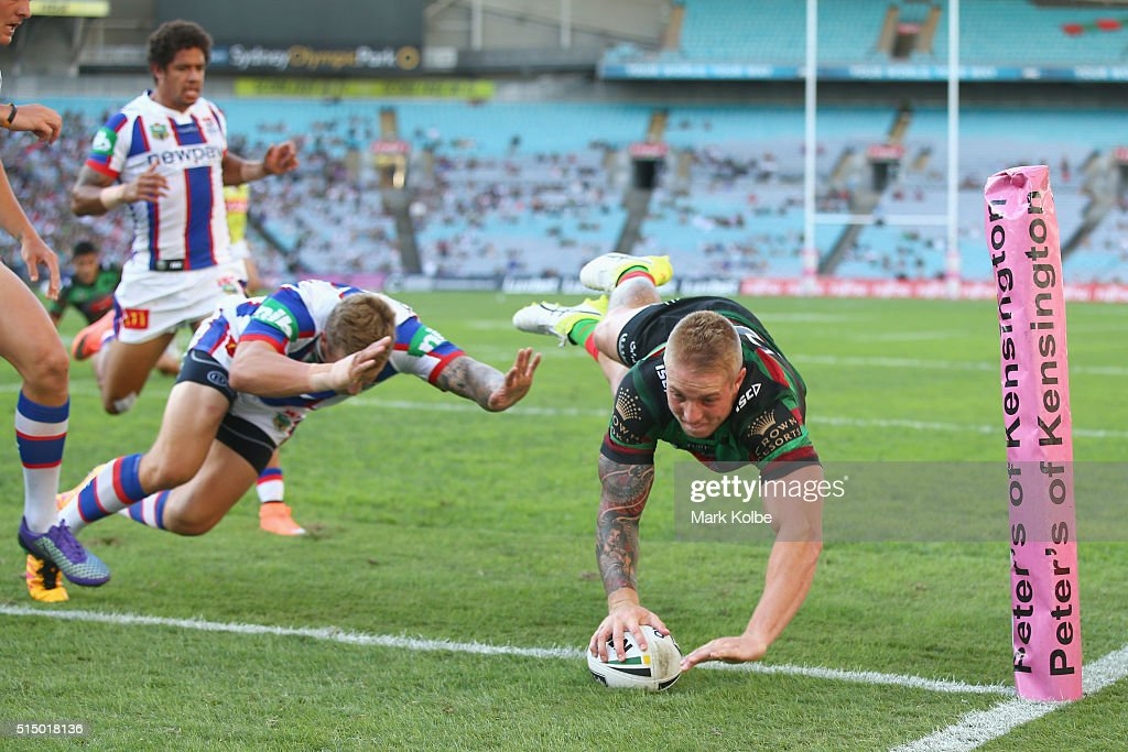 Aaron Gray of the Rabbitohs scores try during the round two NRL match between the South Sydney Rabbitohs and the Newcastle Knights at ANZ Stadium on...