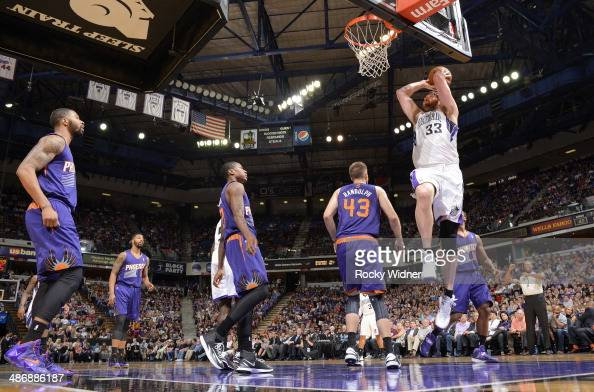 Aaron Gray of the Sacramento Kings goes up for the dunk against the Phoenix Suns on April16 2014 at Sleep Train Arena in Sacramento California NOTE...