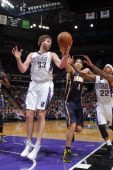 Aaron Gray of the Sacramento Kings rebounds against Luis Scola of the Indiana Pacers on January 24 2014 at Sleep Train Arena in Sacramento California...