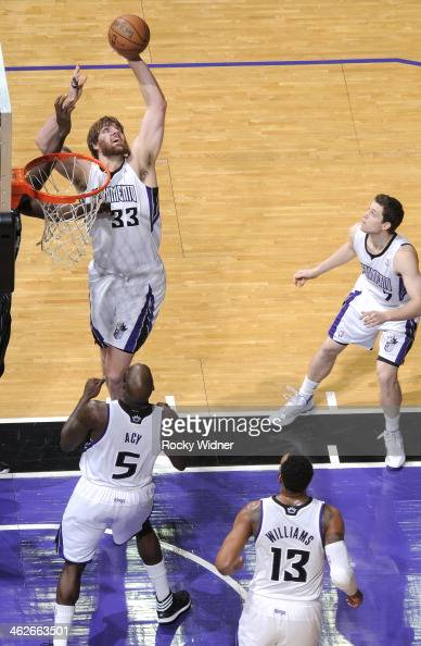 Aaron Gray of the Sacramento Kings rebounds against the Orlando Magic on January 10 2014 at Sleep Train Arena in Sacramento California NOTE TO USER...