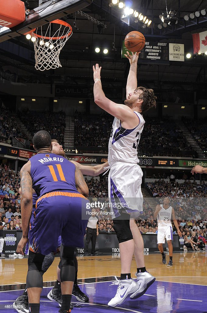 Aaron Gray of the Sacramento Kings shoots the ball against the Phoenix Suns at Sleep Train Arena on April 16 2014 in Sacramento California NOTE TO...