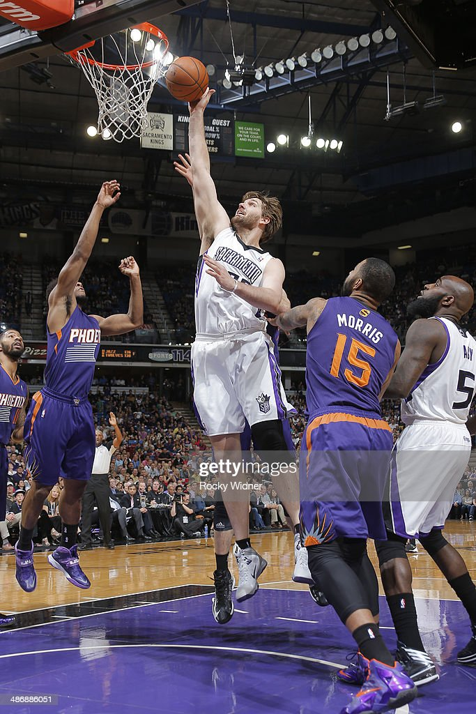 Aaron Gray of the Sacramento Kings tips in the shot against the Phoenix Suns on April16 2014 at Sleep Train Arena in Sacramento California NOTE TO...