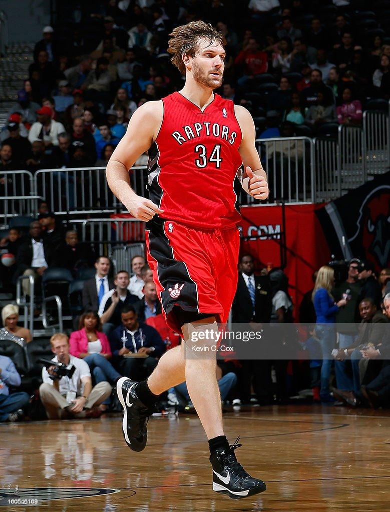 Aaron Gray #34 of the Toronto Raptors against the Atlanta Hawks at Philips Arena on January 30, 2013 in Atlanta, Georgia.