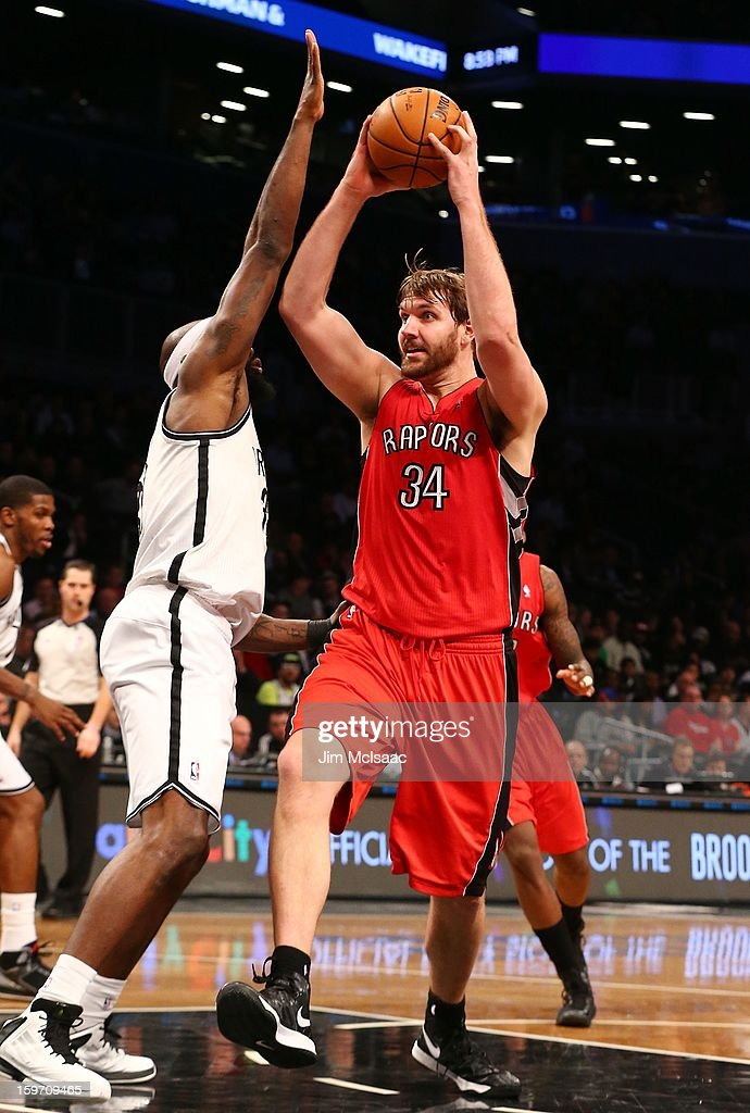 Aaron Gray #34 of the Toronto Raptors in action against the Brooklyn Nets at Barclays Center on January 15, 2013 in the Brooklyn borough of New York City.The Nets defeated the Raptors 113-106.