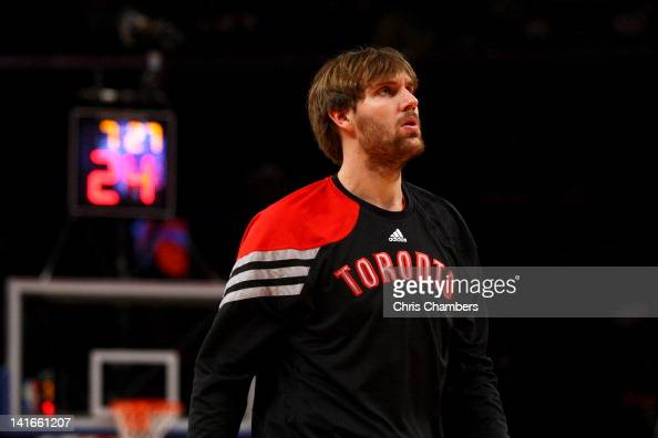 Aaron Gray of the Toronto Raptors looks on during warm ups against the New York Knicks at Madison Square Garden on March 20 2012 in New York City...