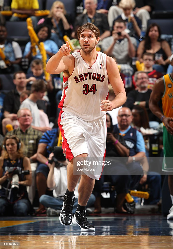 Aaron Gray of the Toronto Raptors reacts during the game against the Memphis Grizzlies on March 16 2012 at FedExForum in Memphis Tennessee NOTE TO...