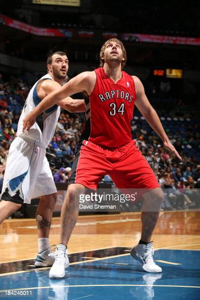 Aaron Gray of the Toronto Raptors waits for a rebound against the Minnesota Timberwolves during the preseason game on October 12 2013 at Target...