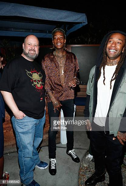 Aaron Greenberg General Manager Xbox Games Marketing and rappers Wiz Khalifa center and Ty Dolla $ign attend the Nas Todd Gurley and LA Rams Host...