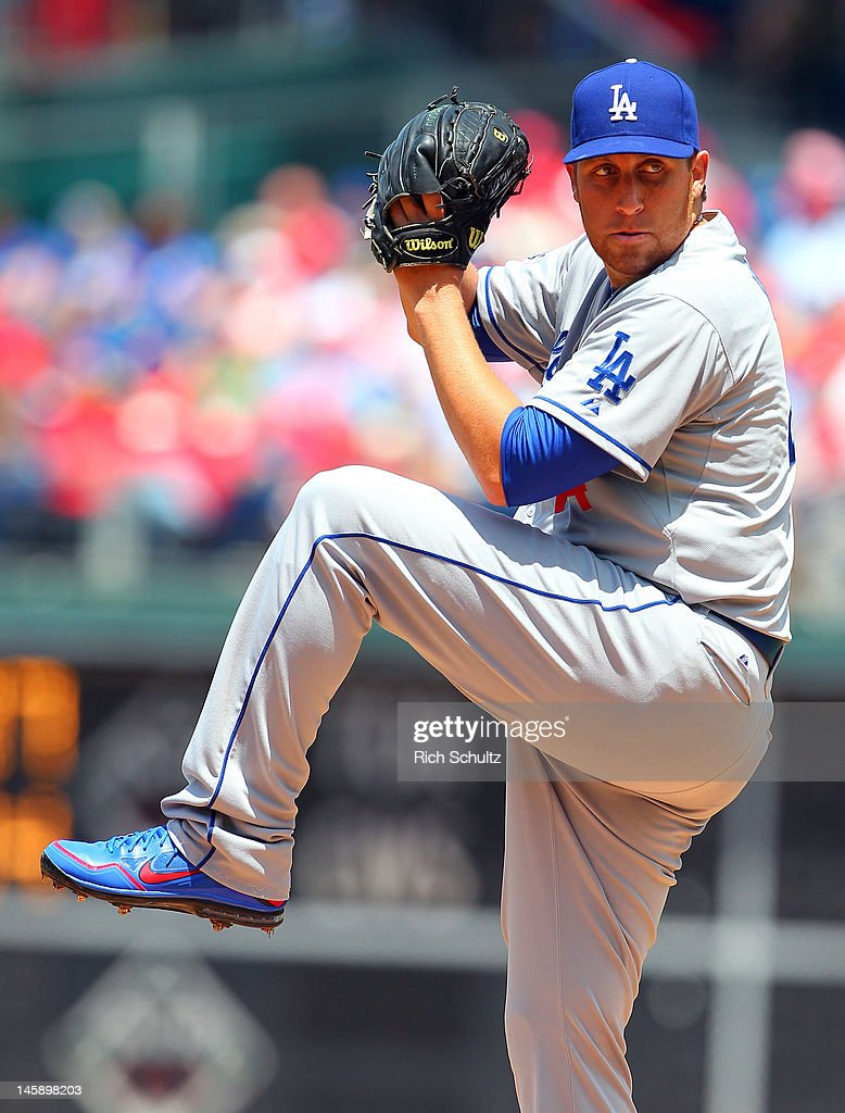 <a gi-track='captionPersonalityLinkClicked' href=/galleries/search?phrase=Aaron+Harang&family=editorial&specificpeople=220641 ng-click='$event.stopPropagation()'>Aaron Harang</a> #44 of the Los Angeles Dodgers delivers a pitch against the Philadelphia Philliesin a MLB baseball game on June 7, 2012 at Citizens Bank Park in Philadelphia, Pennsylvania.