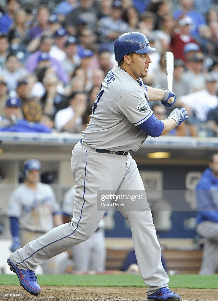 <a gi-track='captionPersonalityLinkClicked' href=/galleries/search?phrase=Aaron+Harang&family=editorial&specificpeople=220641 ng-click='$event.stopPropagation()'>Aaron Harang</a> #44 of the Los Angeles Dodgers hits a double during the sixth inning of a baseball game against the San Diego Padres at Petco Park on September 26, 2012 in San Diego, California.