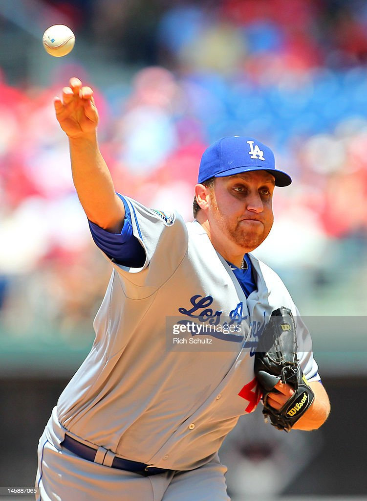 <a gi-track='captionPersonalityLinkClicked' href=/galleries/search?phrase=Aaron+Harang&family=editorial&specificpeople=220641 ng-click='$event.stopPropagation()'>Aaron Harang</a> #44 of the Los Angeles Dodgers pitches against the Philadelphia Philliesin a MLB baseball game on June 7, 2012 at Citizens Bank Park in Philadelphia, Pennsylvania.