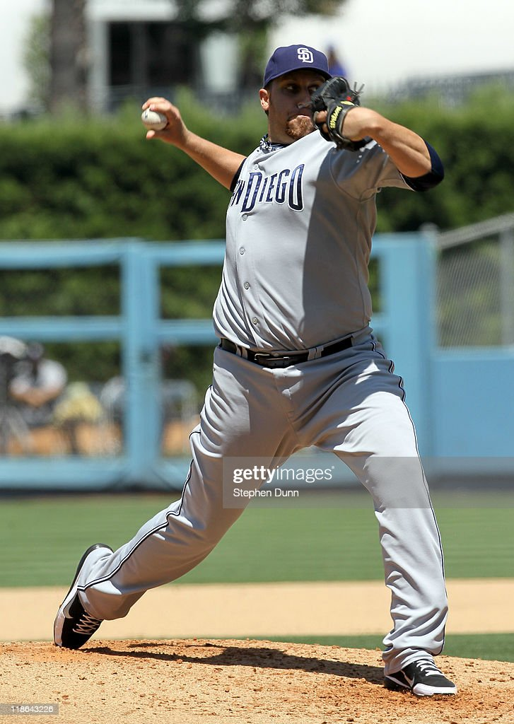 <a gi-track='captionPersonalityLinkClicked' href=/galleries/search?phrase=Aaron+Harang&family=editorial&specificpeople=220641 ng-click='$event.stopPropagation()'>Aaron Harang</a> #41 of the San Diego Padres throws a pitch against the Los Angeles Dodgers on July 9, 2011 at Dodger Stadium in Los Angeles, California. Harang pitched six no hit innings before being relieved, but the Dodgers won 1-0.