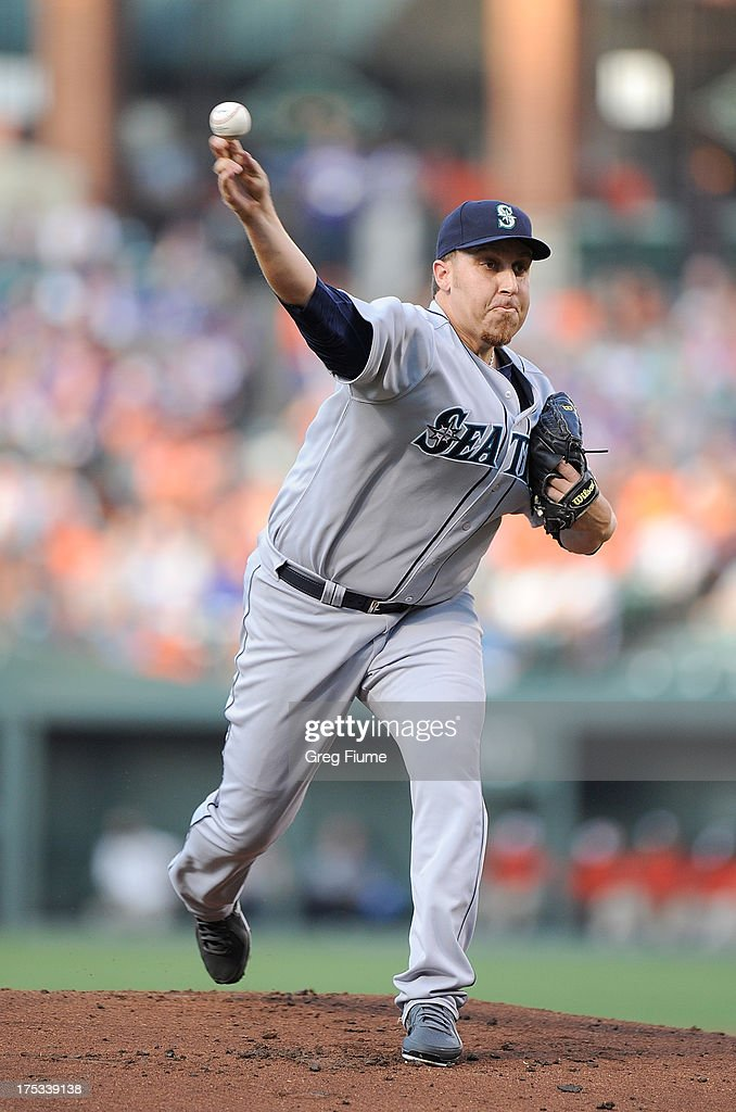 <a gi-track='captionPersonalityLinkClicked' href=/galleries/search?phrase=Aaron+Harang&family=editorial&specificpeople=220641 ng-click='$event.stopPropagation()'>Aaron Harang</a> #39 of the Seattle Mariners pitches in the first inning against the Baltimore Orioles at Oriole Park at Camden Yards on August 2, 2013 in Baltimore, Maryland.