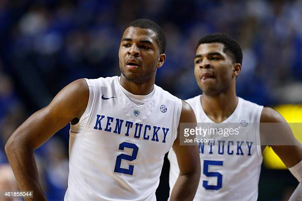 Aaron Harrison and Andrew Harrison of the Kentucky Wildcats look on against the Vanderbilt Commodores during the game at Rupp Arena on January 20...