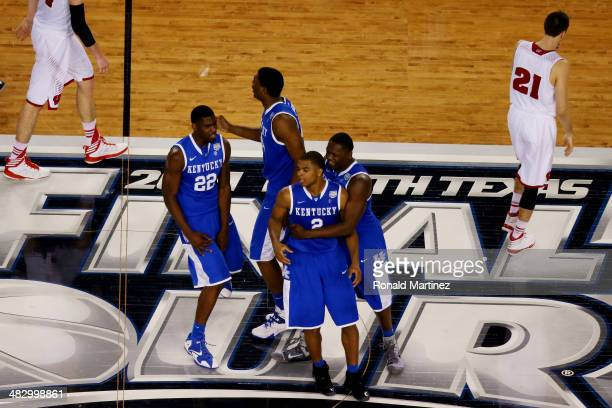 Aaron Harrison of the Kentucky Wildcats celebrates after hitting the game winning shot to defeat the Wisconsin Badgers 7473 in the NCAA Men's Final...