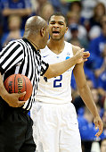 Aaron Harrison of the Kentucky Wildcats is called for a technical foul against the Cincinnati Bearcats during the third round of the 2015 NCAA Men's...