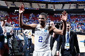 Aaron Harrison of the Kentucky Wildcats walks off the court after defeating the Cincinnati Bearcats 6451 during the third round of the 2015 NCAA...