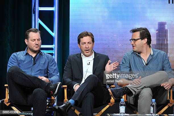 Aaron Helbing Todd Helbing and Andrew Kreisberg speaks onstage during the CW portion of the 2016 Television Critics Association Summer Tour at The...