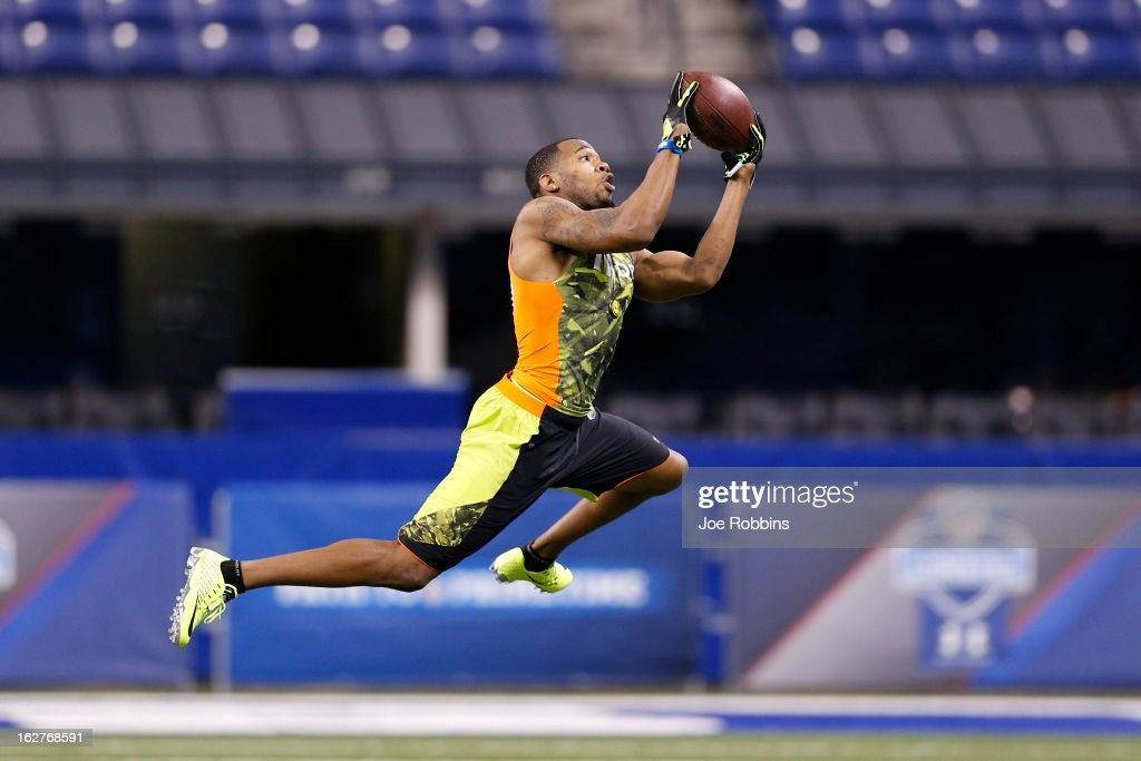 Aaron Hester of UCLA works out during the 2013 NFL Combine at Lucas Oil Stadium on February 26, 2013 in Indianapolis, Indiana.
