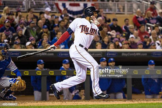 Aaron Hicks of the Minnesota Twins bats against the Kansas City Royals on October 2 2015 at Target Field in Minneapolis Minnesota The Royals defeated...