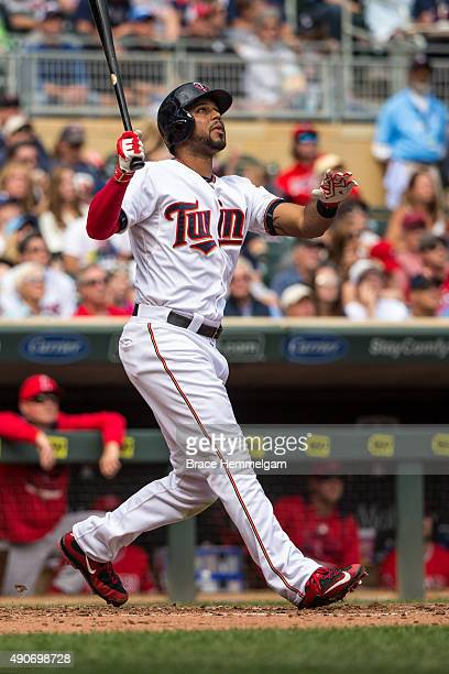 Aaron Hicks of the Minnesota Twins bats against the Los Angeles Angels on September 20 2015 at Target Field in Minneapolis Minnesota The Twins...