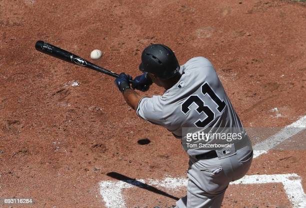 Aaron Hicks of the New York Yankees bats in the sixth inning during MLB game action against the Toronto Blue Jays at Rogers Centre on June 3 2017 in...