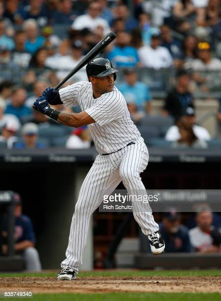Aaron Hicks of the New York Yankees in action against the Boston Red Sox during a game at Yankee Stadium on August 12 2017 in the Bronx borough of...