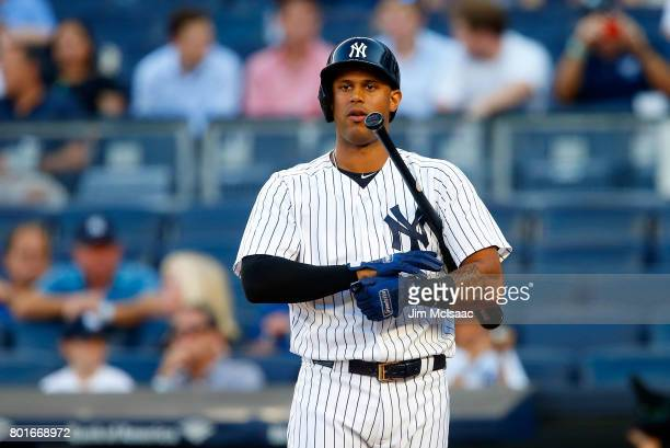 Aaron Hicks of the New York Yankees in action against the Los Angeles Angels of Anaheim at Yankee Stadium on June 21 2017 in the Bronx borough of New...
