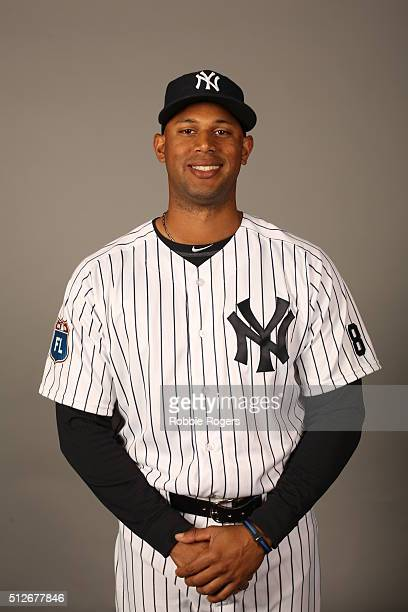 Aaron Hicks of the New York Yankees poses during Photo Day on Saturday February 27 2016 at George M Steinbrenner Field in Tampa Florida