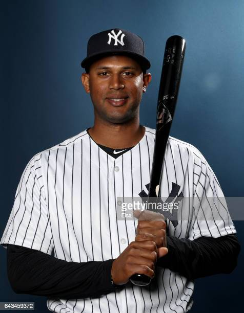 Aaron Hicks of the New York Yankees poses for a portrait during the New York Yankees photo day on February 21 2017 at George M Steinbrenner Field in...