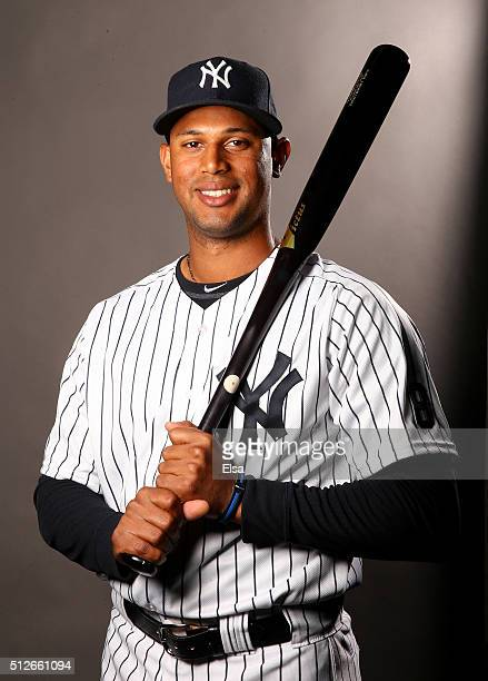 Aaron Hicks of the New York Yankees poses for a portrait on February 27 2016 at George M Steinbrenner Stadium in Tampa Florida