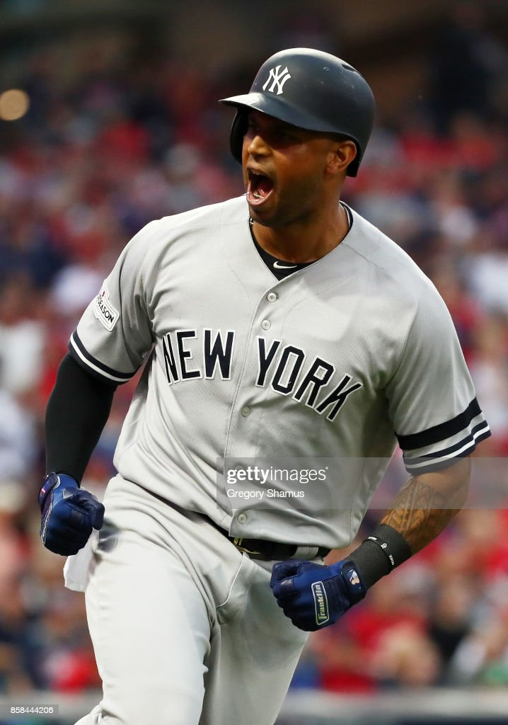 Aaron Hicks #31 of the New York Yankees runs the bases after hitting a three-run home run third inning during game two of the American League Division Series at Progressive Field on October 6, 2017 in Cleveland, Ohio.