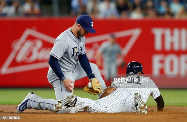 Aaron Hicks of the New York Yankees steals second base in the first inning ahead of the tag from Daniel Robertson of the Tampa Bay Rays at Yankee...