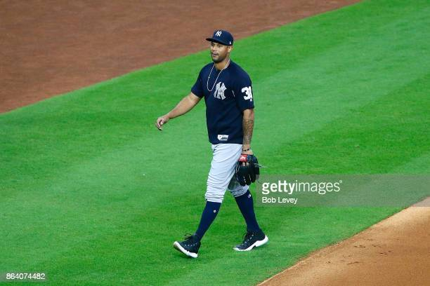 Aaron Hicks of the New York Yankees walks on the field prior to Game Six of the American League Championship Series against the Houston Astros at...