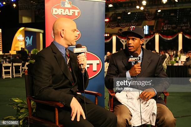 Aaron Hicks with Jonathan Mayo is the 14th selection in the first round during the 2008 Major League Baseball Draft held in the Milk House in...