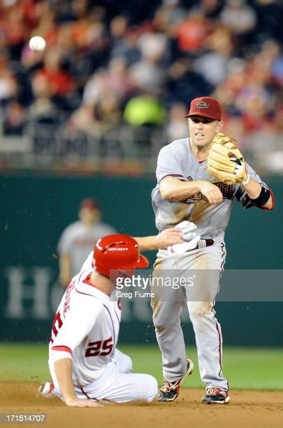 Aaron Hill of the Arizona Diamondbacks forces out Adam LaRoche of the Washington Nationals in the seventh inning at Nationals Park on June 25 2013 in...