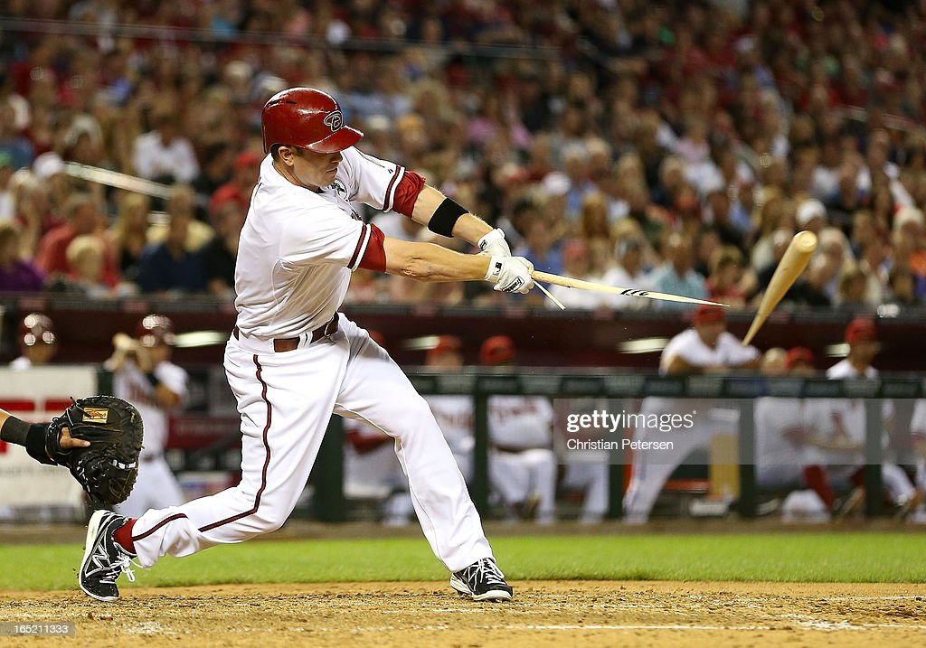 Aaron Hill #2 of the Arizona Diamondbacks hits a broken bat single against the St. Louis Cardinals during the fifth inning of the MLB Opening Day game at Chase Field on April 1, 2013 in Phoenix, Arizona.