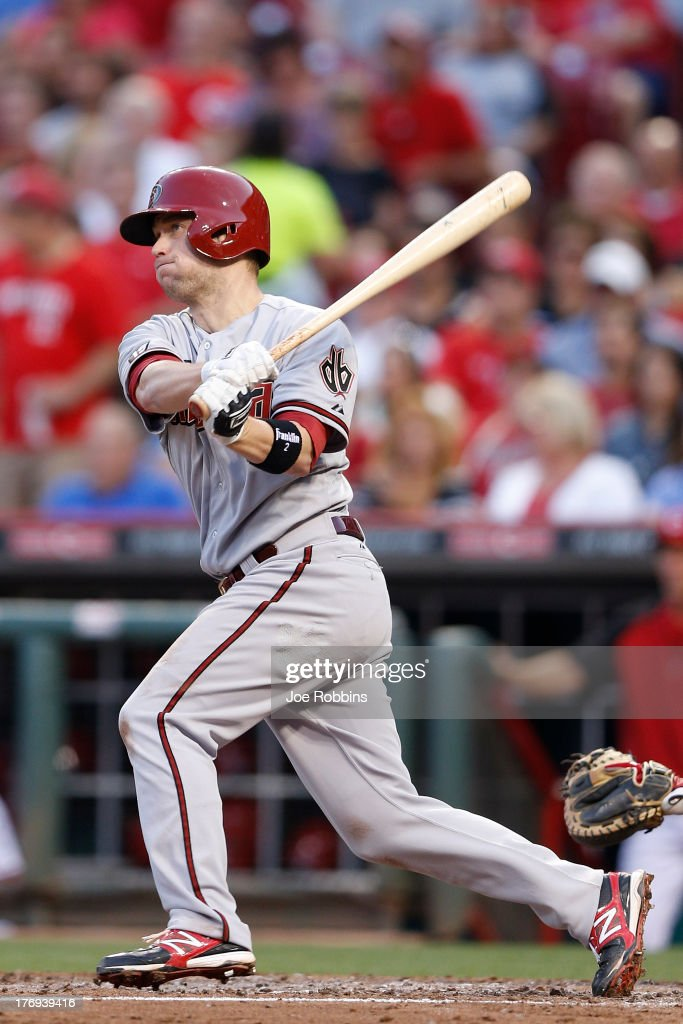 <a gi-track='captionPersonalityLinkClicked' href=/galleries/search?phrase=Aaron+Hill+-+Baseball+Player&family=editorial&specificpeople=239242 ng-click='$event.stopPropagation()'>Aaron Hill</a> #2 of the Arizona Diamondbacks hits a home run in the fourth inning of the game against the Cincinnati Reds at Great American Ball Park on August 19, 2013 in Cincinnati, Ohio.